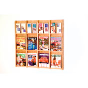 12 Magazine/24 Brochure Oak & Acrylic Wall Display - Light Oak