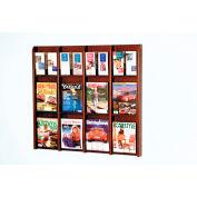 12 Magazine/24 Brochure Oak & Acrylic Wall Display - Mahogany