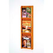 3 Magazine/6 Brochure Oak & Acrylic Wall Display - Medium Oak