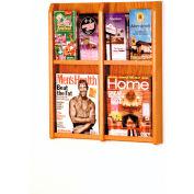 4 Magazine/8 Brochure Oak & Acrylic Wall Display - Medium Oak