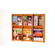 6 Magazine/12 Brochure Oak & Acrylic Wall Display - Medium Oak