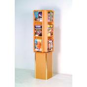 Free Standing 12 Pocket Rotary Literature Display - Light Oak