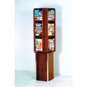 Free Standing 12 Pocket Rotary Literature Display - Mahogany