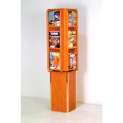 Free Standing 12 Pocket Rotary Literature Display - Medium Oak