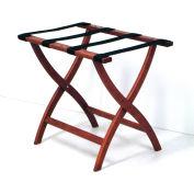 Luggage Rack w/ Convex Legs - Mahogany/Tan