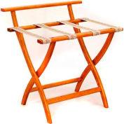 Wooden Mallet WallSaver™ Luggage Rack with Tapestry Webbing, Medium Oak