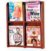 Wooden Mallet Divulge™ 4 Magazine Wall Display, Mahogany
