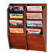 Wooden Mallet Cascade™ 8 Pocket Magazine Rack, Mahogany