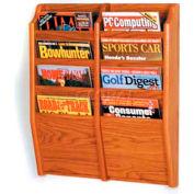 Wooden Mallet Cascade™ 8 Pocket Magazine Rack, Medium Oak