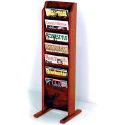Wooden Mallet Cascade™ Free-Standing 7 Pocket Magazine Rack, Mahogany
