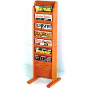 Wooden Mallet Cascade™ Free-Standing 7 Pocket Magazine Rack, Medium Oak