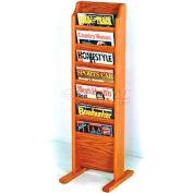 Wooden Mallet Cascade™ Free-Standing 7 Pocket Magazine Rack, Medium Oak