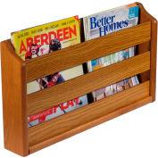 "Wooden Mallet™ Wall Mount or Countertop Magazine Rack 20""W Medium Oak"