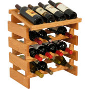 "16 Bottle Dakota™ Wine Rack with Display Top, Light Oak, 21""H"