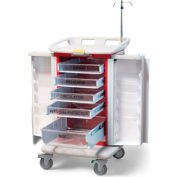 Waterloo Healthcare 5-Drawer Instant Access Emergency Crash Cart, Red