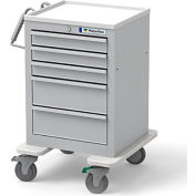 Waterloo Healthcare 5-Drawer Steel Junior Short Economy Medical Cart, Key Lock, Light Gray