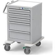 Waterloo Healthcare 5-Drawer Steel Junior Short Economy Medical Cart, Key Lock, Light Gray