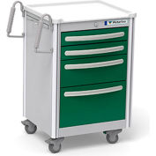 Waterloo Healthcare 4-Drawer Aluminum Junior Short Medical Bedside Cart, Key Lock, Fairway Green