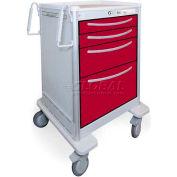 Waterloo 4 Drawer Junior Short Aluminum Bedside Treatment Cart JSGKA-3369-WNE