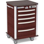 Waterloo Healthcare 5-Drawer Aluminum Junior Short Medical Bedside Cart, Push Button Lock, Cherry