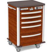 Waterloo Healthcare 5-Drawer Aluminum Junior Short Medical Bedside Cart, Push Button Lock, Pear