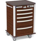 Waterloo Healthcare 5-Drawer Aluminum Junior Short Medical Bedside Cart, Push Button Lock, Walnut