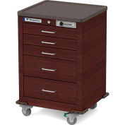 Waterloo Healthcare 5-Drawer Steel Junior Short Medical Bedside Cart, Push Button Lock, Cherry