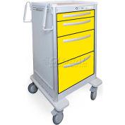 Waterloo 4 Drawer Junior Tall Aluminum Isolation Cart JTGKA-3699-YEL