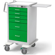 Waterloo Healthcare 6-Drawer Steel Junior Tall Medical Bedside Cart, Push Button Lock, Spring Green