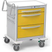 Waterloo Healthcare 3-Drawer Aluminum Short Isolation Cart, Key Lock, Yellow