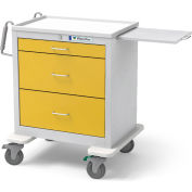 Waterloo Healthcare 3-Drawer Steel Short Isolation Cart, Key Lock, Yellow