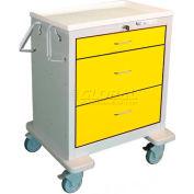 Waterloo 3 Drawer Short Steel Isolation Cart USGKU-499-YEL