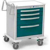 Waterloo Healthcare 4-Drawer Aluminum Short Treatment Cart, Level Lock, Teal Green