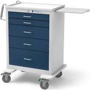 Waterloo Healthcare 5-Drawer Steel Tall Anesthesia Cart, Key Lock, Dark Blue
