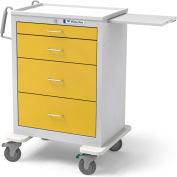 Waterloo Healthcare 4-Drawer Steel Tall Isolation Cart, Key Lock, Yellow