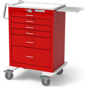 Waterloo Healthcare 6-Drawer Steel Tall Emergency Cart, Lever Lock, Red
