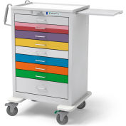 Waterloo Healthcare 9-Drawer Steel Tall Pediatric Emergency Cart, Lever Lock, Multi-Color
