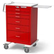 Waterloo Healthcare 6-Drawer Steel X-Tall Emergency Cart, Lever Lock, Red