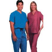 Fashion Seal Unisex Non-Reversible Scrub Shirts, Cotton/Polyester, 5XL, Cranberry