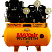 MaxAir 18G55TRKE-H-MAP, 18HP, Stationary Gas Comp, 55 Gal, 170 PSI, 55 CFM, Briggs&Stratton,Electric