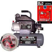 Iron Horse Hand Carry Compressor IHHD103L-AK, 1HP, Gal, 5.1 CFM @ 90 PSI, 20-PC Accessory Kit