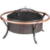 "Fire Sense 37"" Round Copper Rail Fire Pit 60859 Antique Bronze"