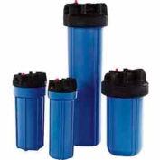 "10"" Commercial Blue/Black Plastic Filter Housing 3/4"" Port Pressure Release - Pkg Qty 12"