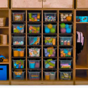 """Preschool Cubby Storage Unit With 24 Compartments, No Tray, 39""""W x 14""""D x 46""""H, Natural"""