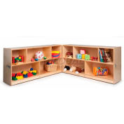 "Fold And Roll Cubby Storage Unit, No Tray, 96""W x 12""D x 30""H, Natural"