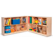 "Toddler Fold & Roll Cubby Storage Unit, No Tray, 96""W x 12""D x 24""H, Natural"