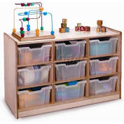 "Preschool Cubby Storage Unit With 9 Clear Trays, 40-1/2""W x 17-1/2""D x 24-1/2""H, Natural"