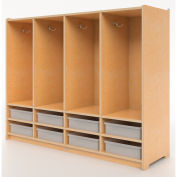 Whitney Brothers Preschool 8-Section Coat Locker with Trays - Natural