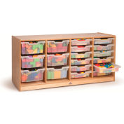"Preschool 4-Section Cubby Storage w/6 ClearTotes/12 Trays,54""Wx18""Dx24""H,Natural"