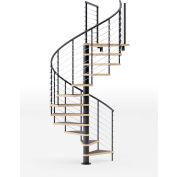 "Global Industrial™ Hayden 36""H Platform Rail Spiral Stair Kit,60""Dia, 12'H, Alum. Handrail, Blk"